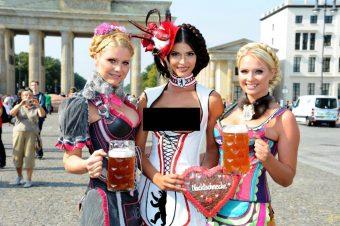 Micaela Schaefer posing Wiesn (Oktoberfest) themed photoshoot
